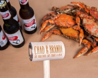For Couples Who Go Together Like Crabs and Beer: Personalized Crab Mallet Bottle Opener Gift for Maryland Couple | Wedding/Anniversary Gift