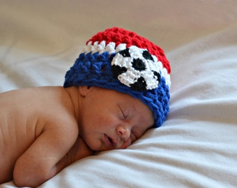 Newborn Soccer Hat, Baby Boy Soccer Hat, USA Soccer Hat, Baby Girl Soccer Hat, Infant Boy Hat, Newborn Photo Prop, Baby Shower Gift