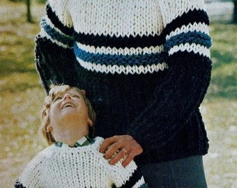 Bulky Sweaters for Men and Boys Vintage Knitting Pattern Download
