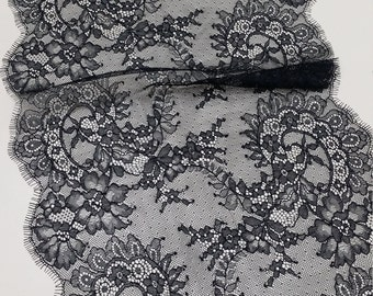 Black lace Trim, Chantilly Lace, French Lace, Wedding Lace, Scalloped lace, Eyelash lace, Floral Lace, Lingerie Lace, by the yard