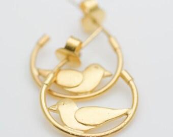 ON SALE: Sitting Bird Sterling Silver Gold Vermeil Earring