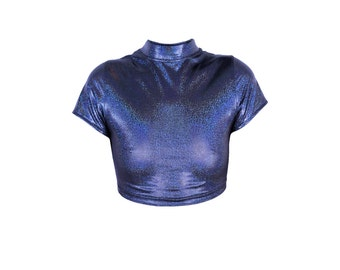Cyber Gal Short Sleeve Holographic Crop Top