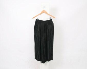 Black PALAZZO Pants 90s VINTAGE Pattern Tan Minimalist Cropped Capris Wide Leg Casual High Waist Culottes Womens Size Au 10 US 6 Trousers