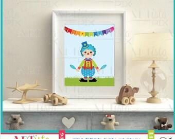 Nursery Wall Art, Clown Wall Art, Circus Wall Art, Blue Clown Wall Art, Printable Wall Art, Instant Download