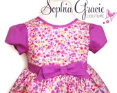 Girl's Purple and Ivory Floral Ruched Party Dress, 1st Birthday Dress, Girl's Couture Dress, 100% cotton