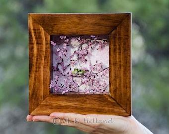 Miniature Green Birds and Cherry Blossoms Fine Art Shadowbox, Ready to Ship, Spring Home Decor