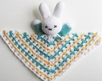 green cotton bunny, Easter Bunny Snuggly, stuffed bunny, rabbit plushy, baby lovey, rabbit stuffy, Easter basket, stuffed animals, yellow