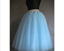 Plus size tulle skirt Plus size tea length tulle skirt handmade light blue tulle skirt for plus size women 50s tulle skirt 50s fashion