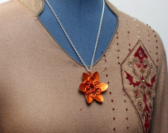 Orange Scalemaille Flower Necklace