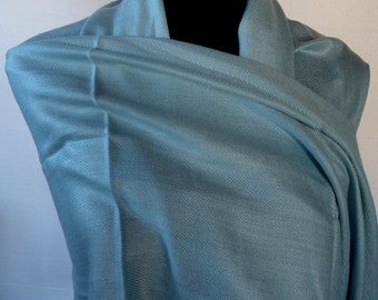 Vintage Pashmina Cashmere Shawl Wrap Scarf Tradtional Cut and Weave India  Robin's Egg Blue Rare