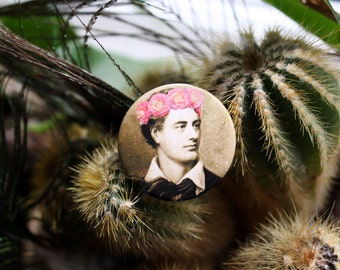 Lord Byron in a flower crown 32mm pin back badge