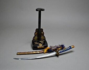 "48cm/19"" Samurai Sword and Stand. Katana Black & Gold Makie Stand. Blue Hilt. Nashiji Scabbard. Gogatsu Katana"