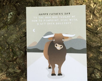 "Funny Father's Day Card. ""Thanks for teaching me about bullsh*t."" Card #024"