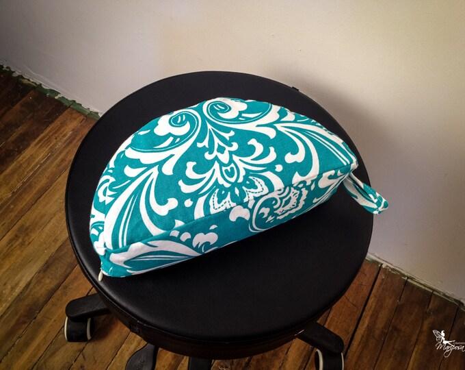 Moon Crescent Meditation Pillow Travel buckwheat cushion Half Zafu Teal Damask by Creations Mariposa