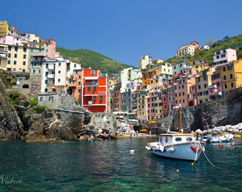 Riomaggiore, Cinque Terre Italy, Photograph by Phil Viebeck FREE SHIPPING