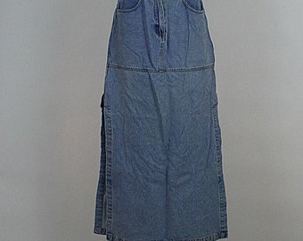 Long denim skirts with side