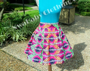 African Skirt African Clothes Ankara fabric knee length skirt extra small plus size