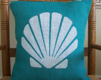 Shell pillow cover, Beach pillow cover, Nautical pillow, Burlap pillow, Sea shell stenciled pillow, Turquoise pillow, FREE SHIPPING!