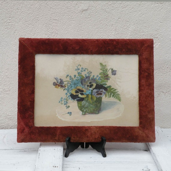 Antique watercolor pansy painting - French antique flower painting - original watercolor - original French art - pansies watercolour