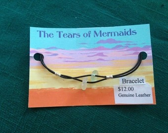 Sea Glass Leather Bracelet Surfer Style