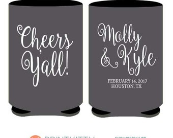 Personalized Wedding Can Coolers -Cheers Y'all - Fun, Quirky, & Fresh custom printed coolies with Free Shipping (39)