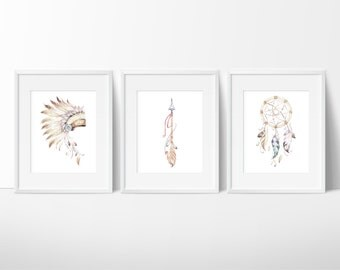 Native American Prints - Dreamcatcher Print - Arrow Art - Watercolor Art - Indian Headdress - Feather Arrows- Home Decor - Set of 3 Prints