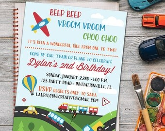 Trains, Planes, Automobiles - Transportation Invitation - Birthday - Any Age - Digital Files OR Printed Cards - FREE shipping!