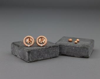 Solid 14K Rose Gold & Diamonds Earrings   Handmade Solid 14K Rose Gold Earrings   Engagement Earrings
