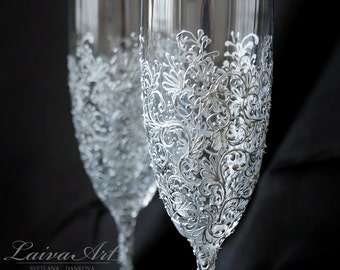 Silver Wedding Champagne Flutes Wedding Champagne Glasses Wedding Toasting Flutes Silver Wedding Gatsby Wedding