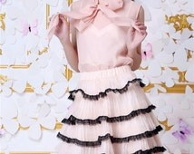 Audrey Hepburn Nude Pink Voile Top Pink Sheer Blouse with Collar Bow Organza Pleated Frilly Skirt Pearl White Beaded Satin Tiered Mini Skirt