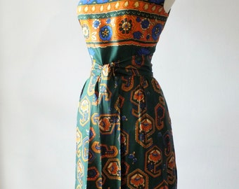 1960s maxi dress with pockets + Vintage psychedelic floral print dress