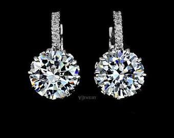 Cubic Zirconia Leverback Earrings - Drop Earrings - Crystal Earrings -  Bridesmaid Earrings - Round Cut Earrings - Wedding Earrings - AE0001