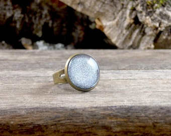 Silver and brass ring, Silver sparkling jewelry, Silver glitter ring, Silver cabochon ring, Sparkly jewelry, Glittery gray ring SJ 066