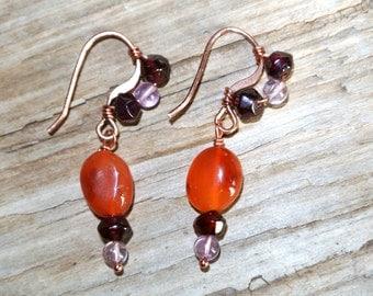 Ancient Roman-Inspired Earrings/Garnet/Amethyst/Carnelian/Healing Stones/Copper Wire