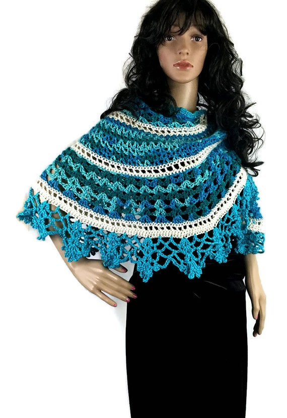 Outlander Claire Turquoise Shawl Isle of Skye Crocheted Fraser Diana Gabaldon FREE SHIPPING