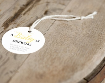 A Baby is Brewing baby shower tea party favor tags, personalized thank you tags, beer favor tag, tea favor tag