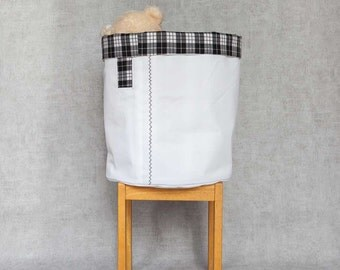 L Fabric Basket, Toy Storage, Storage Basket, Storage Bin, Nursery Storage, Project Bucket // Madras/Tartan/Plaid Pattern // Black & White