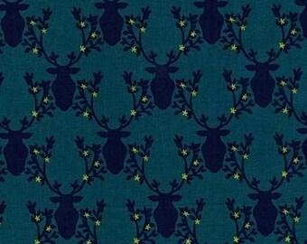 Deer Quilt Fabric, Rustique, Michael Miller DC6411 Teal Trophy, Crazy Old Ladies, Navy Deer Heads on Teal, Baby Boy Woodland  Quilt Fabric