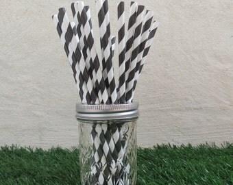 Black Diagonal Striped Paper Straws (25 straws/pack)
