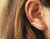 Gold Ear Cuff - Gold Ear Climber - Leaf Ear Cuff - Earcuff Jewelry - Cuff & Wrap Earrings - Ear Warp - Gold Earring - Leaf Earring