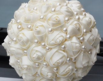 Ivory Bridal Bouquet w/ Pearls (Other Colors Avaliable)