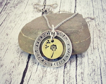 "Every DREAM begins with a WISH  Dandelion  Hand Stamped mixed metal 18"" stainless steel chain necklace"