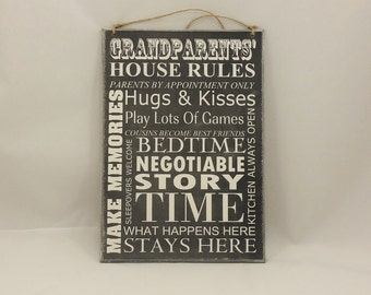 Wooden Sign, Grandparents House Rules,Gifts for Grandparents, Grandparent Sign, Grandparent Gift, Grandparent Decor, wall plaque,206chalk