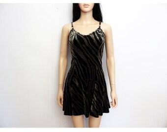 Vintage 1990s Velvet Zebra Print Skater Dress Size S/M