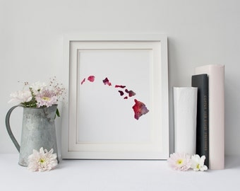 Hawaii Islands Printable, Hawaiian Map printable, Hawaii Watercolor Print, Watercolor Art, Instant Download, Digital Downloand, 8x10
