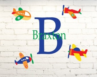 Vinyl wall art for kid's room.  Airplane wall decor personalized with child's name & monogram. Custom bedroom wall decal. Little boys room.