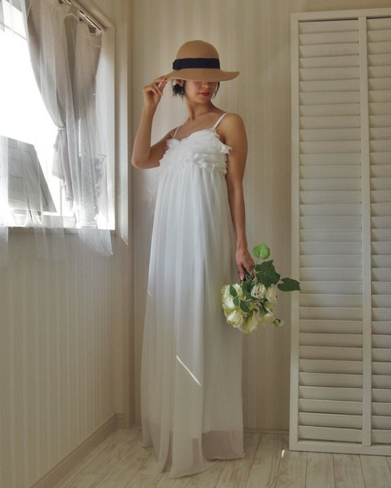 Items similar to rustic white maxi dress simple wedding for Maxi dress for wedding reception
