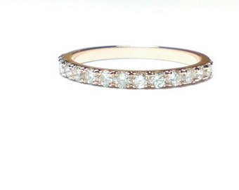 14K Rose Gold Diamond Band Ring - Diamond Band  Ring-Hand Made Diamond Band-Fine Jewelry