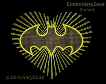 Logo Batman in star rays of heart Machine Embroidery Design applique Simvol Super hero comics Batman machine embroidery pattern. 4 Sizes