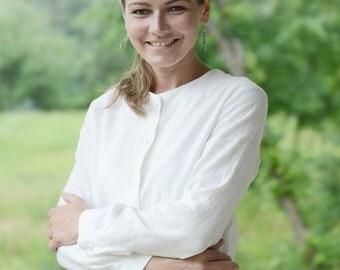 Simple Natural Linen Shirts. Women shirt. Washed linen blouse.